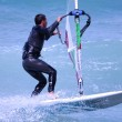 Windsurfing on a beach — Stok fotoğraf