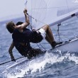 Yacht race in a Mediterranean sea - Stockfoto