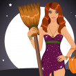 Sexy Halloween witch holding a broom and a pumpkin — Stock Vector #12645183