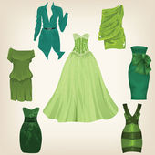 Set of beautiful green dresses — Stock Vector
