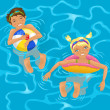 Two kids in water - Stock Vector