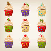 Set of cute vector Christmas cupcakes — Stock Vector