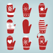 Set of Christmas mittens — Stock Vector
