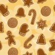 Seamless Christmas gingerbread background — Stock Vector