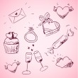 Stock Vector: Sketchy valentine day icons