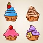 组的四个可爱的纸杯蛋糕 — 图库矢量图片 #36248231