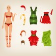 Female Christmas clothes — Stock Vector