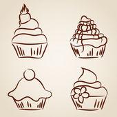 Cupcake sketches — Stock Vector