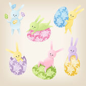 Cute Easter Bunnies — Stock Vector