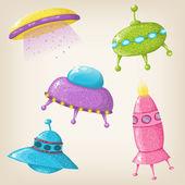 Vector cute UFOs — Stock Vector