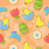 Background with cute Easter themed cookies — Vector de stock