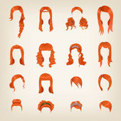 Redhead hairstyles for women — Wektor stockowy