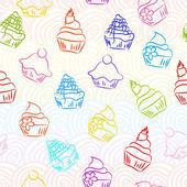 Retro sketchy cupcake background — Stock Vector