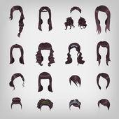 Assortment of female brunette hair — Stock Vector