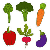 Set of cute hand drawn vector vegetables — Stock Vector