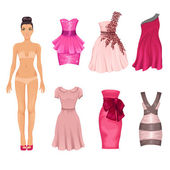 Vector dress-up doll with  pink dresses — Stock Vector