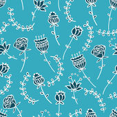 Seamless doodle floral pattern — Stock Vector