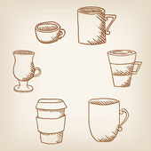 Vector set of hand drawncoffee mugs and cups — Stock Vector
