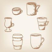 Vector set of hand drawncoffee mugs and cups — 图库矢量图片