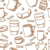 Seamless coffee cups and mugs pattern — ストックベクタ