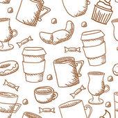 Seamless coffee cups and mugs pattern — 图库矢量图片