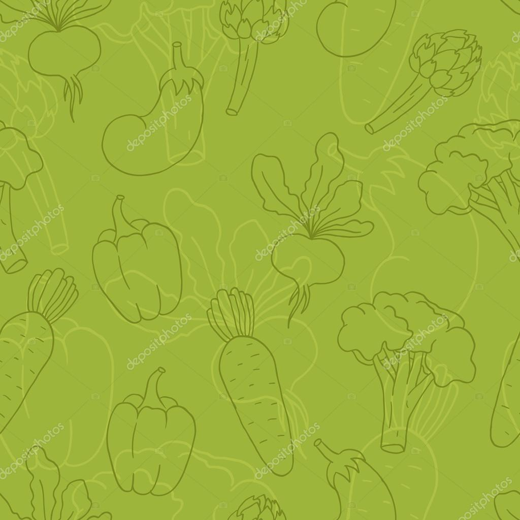 Cute Vegetable Background Seamless Cute Green Background