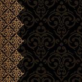 Seamless baroque damask border — ストックベクタ