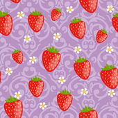 Seamless strawberries background — Vettoriale Stock
