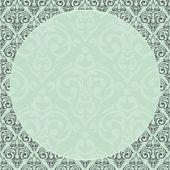 Baroque damask round border frame — 图库矢量图片