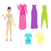 Dress up doll with an assortment of summer dresses — Stock Vector