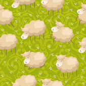 Pattern with lambs — Stock Vector