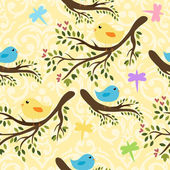 Pattern with birdies — Vector de stock