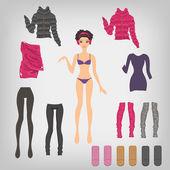 Dress up paper doll — Stock Vector