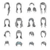 Women hairstyles set — Stock Vector