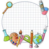 School supplies frame — Stock Vector