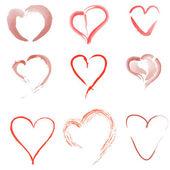 9 hearts — Stock Vector