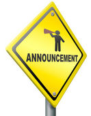 Announcement warning sign — Foto Stock