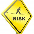 Risk ahead warning sign - Stock Photo