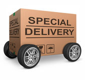 Special delivery cardboard box — Stock Photo