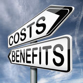 Costs and benefits — Stockfoto