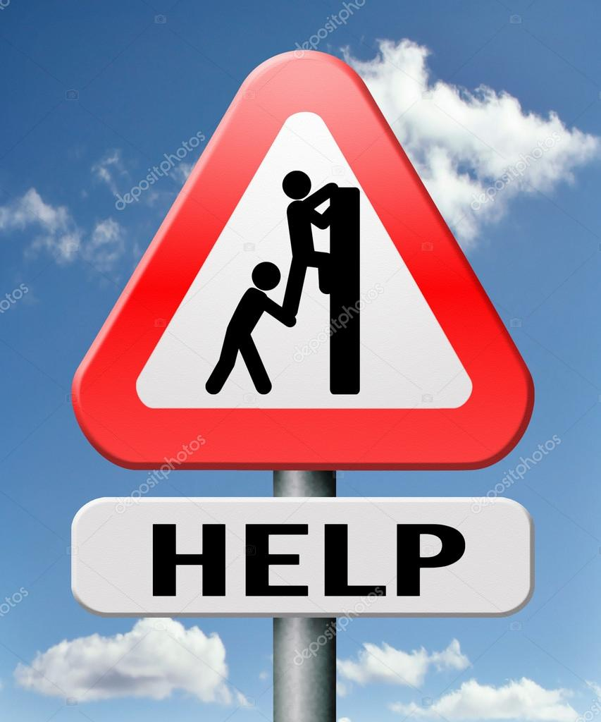 Helping hand help warning sign — Stock Photo #18990391