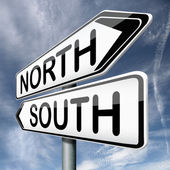 North or south — 图库照片