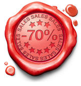 关闭销售 70 百分比 — 图库照片