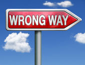 Wrong way road sign arrow — Stock Photo