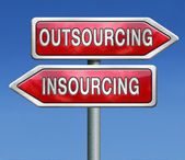 Insourcing or outsourcing — Стоковое фото