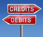Debits or credits — Stock Photo