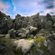Stock Photo: Volcanic basalt lavlandscape