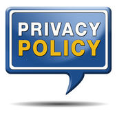 Privacy policy blue text balloon — Stock Photo