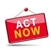 Act now sign — Stockfoto
