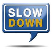 Slowdown blue text balloon — Stock Photo
